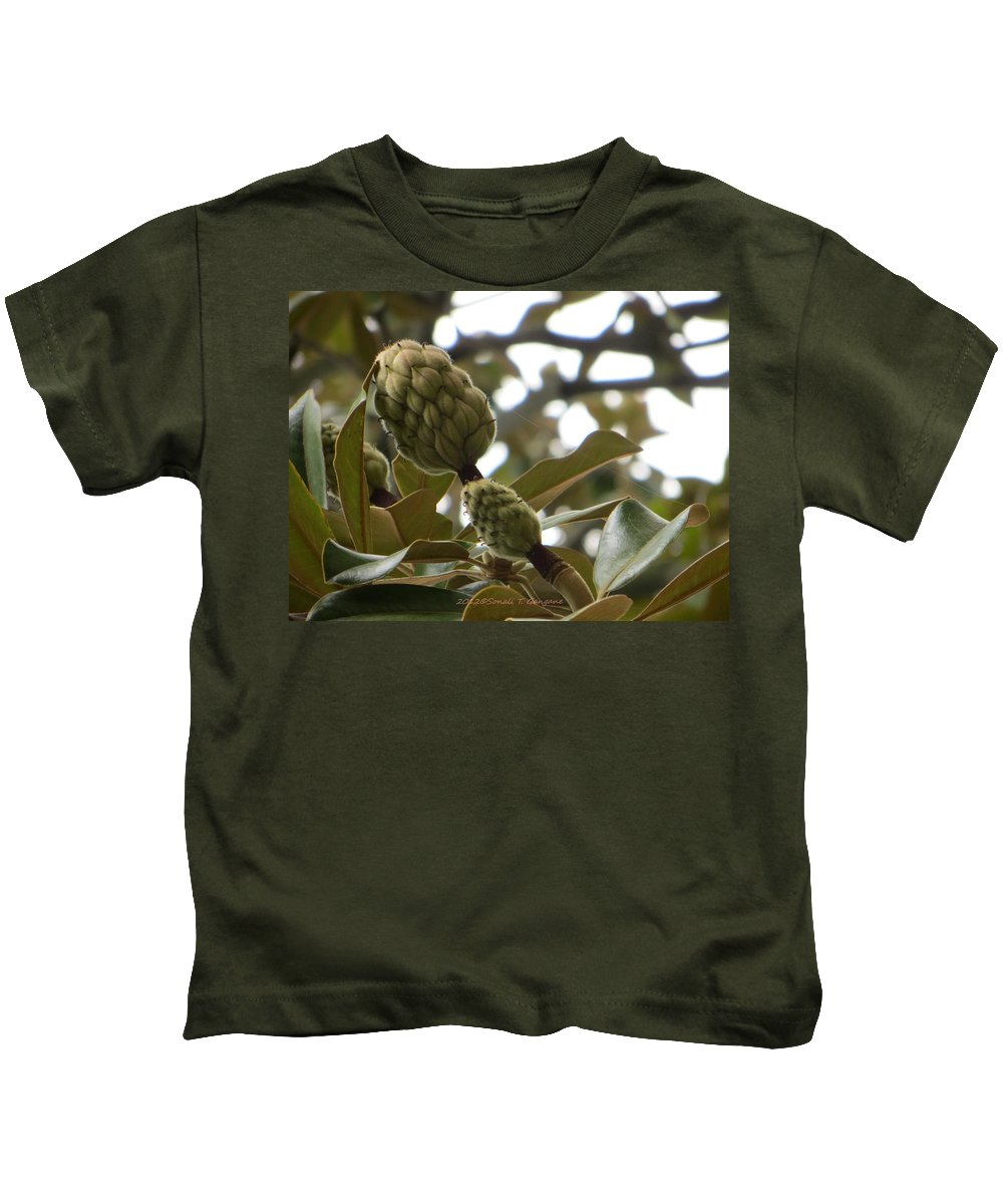 Green Is Pure Kids T-Shirt featuring the photograph Magnolia Buds by Sonali Gangane
