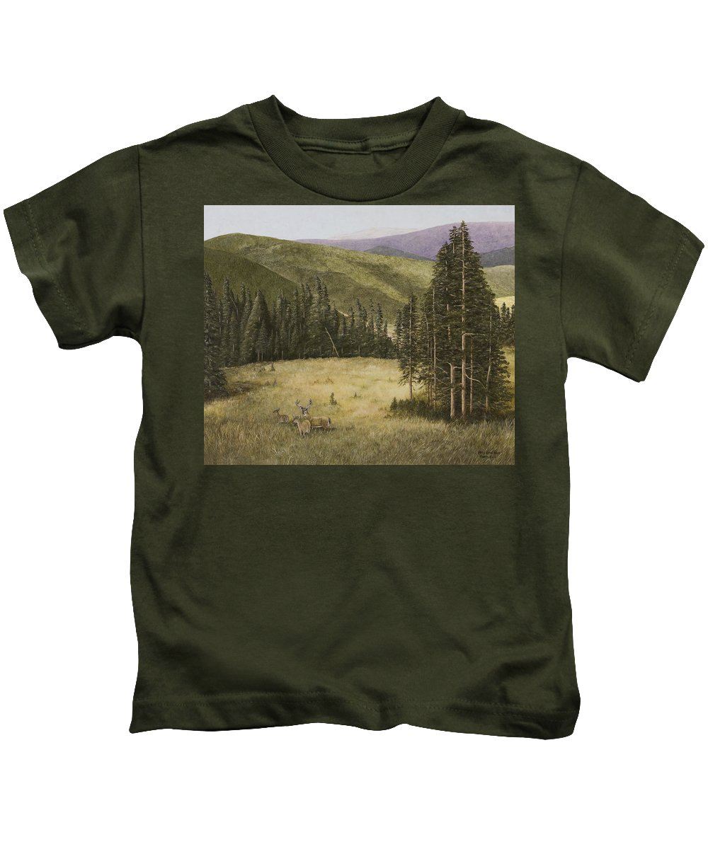Deer Paintings Kids T-Shirt featuring the painting Majesty In The Rockies by Mary Ann King