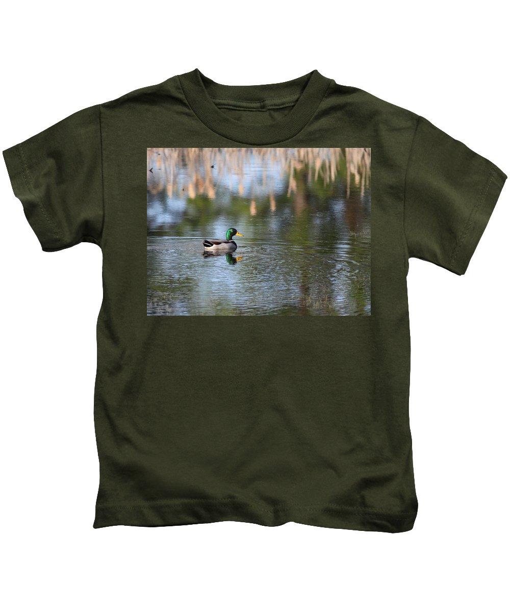 Duck Kids T-Shirt featuring the photograph Mallard - Duck - Lonely Guy by Travis Truelove