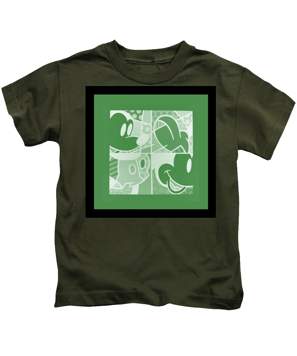 Mickey Mouse Kids T-Shirt featuring the photograph Mickey In Negative Olive Green by Rob Hans