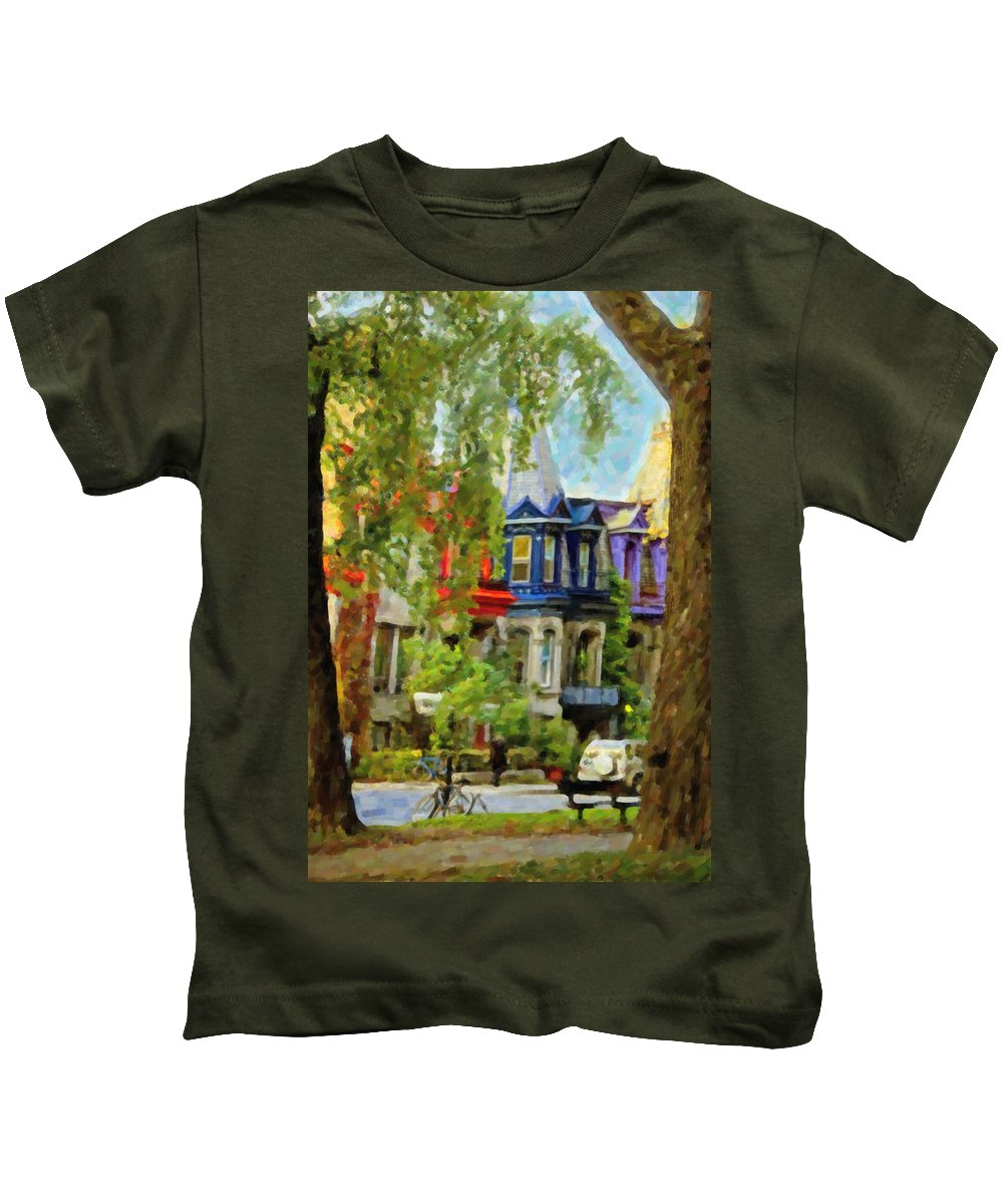 Montreal Kids T-Shirt featuring the digital art Montreal Architecture 2 by Diane Dugas