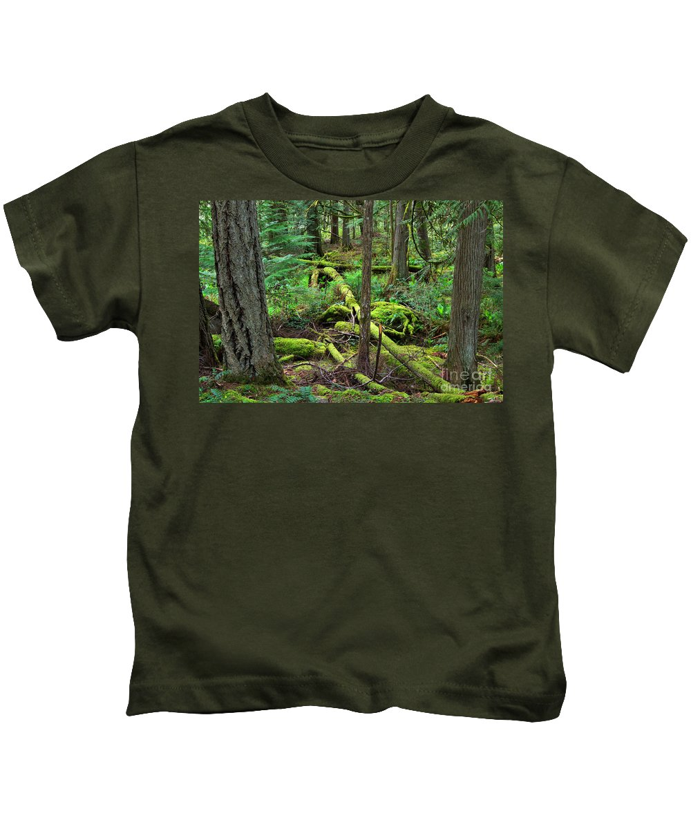 Temperate Kids T-Shirt featuring the photograph Moss And Fallen Trees In The Rainforest Of The Pacific Northwest by Louise Heusinkveld