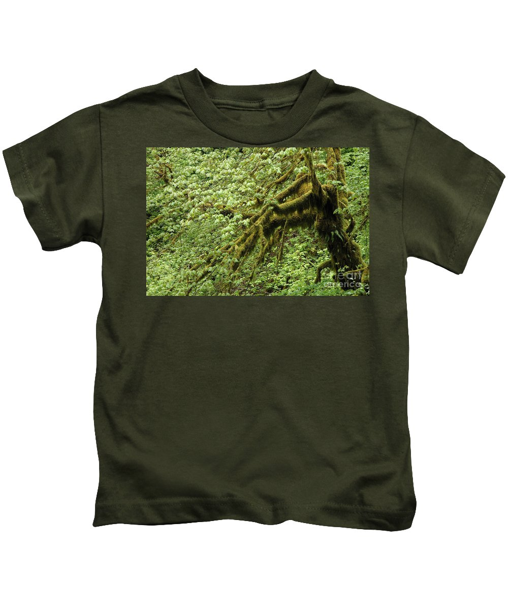 Moss Kids T-Shirt featuring the photograph Moss Covered Tree by Mike Nellums