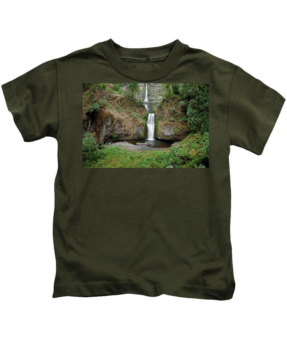Cascades Kids T-Shirt featuring the photograph Multnomah Falls - Wide View by Greg Nyquist
