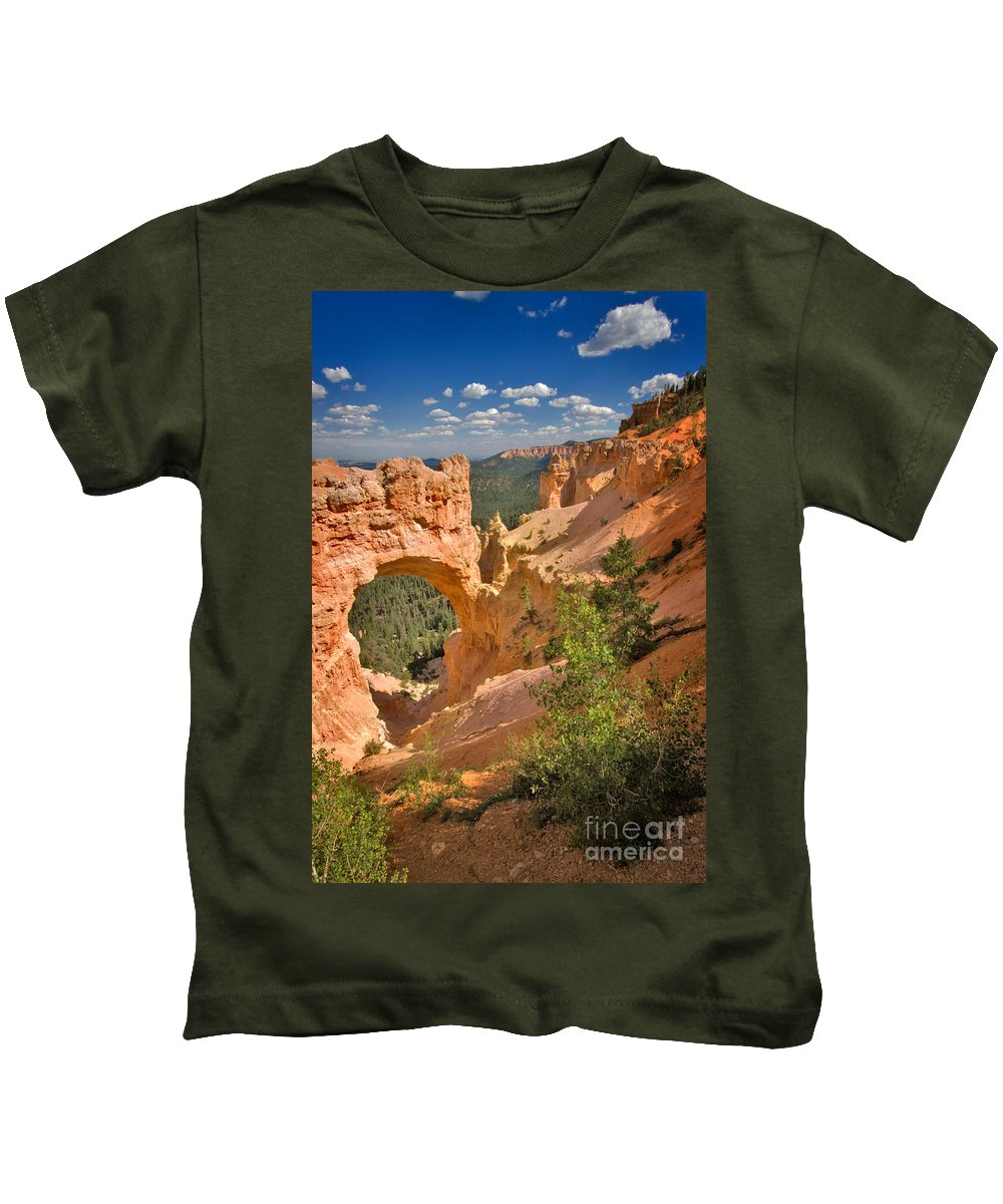 Hoodoo Kids T-Shirt featuring the photograph Natural Bridge In Bryce Canyon National Park by Louise Heusinkveld