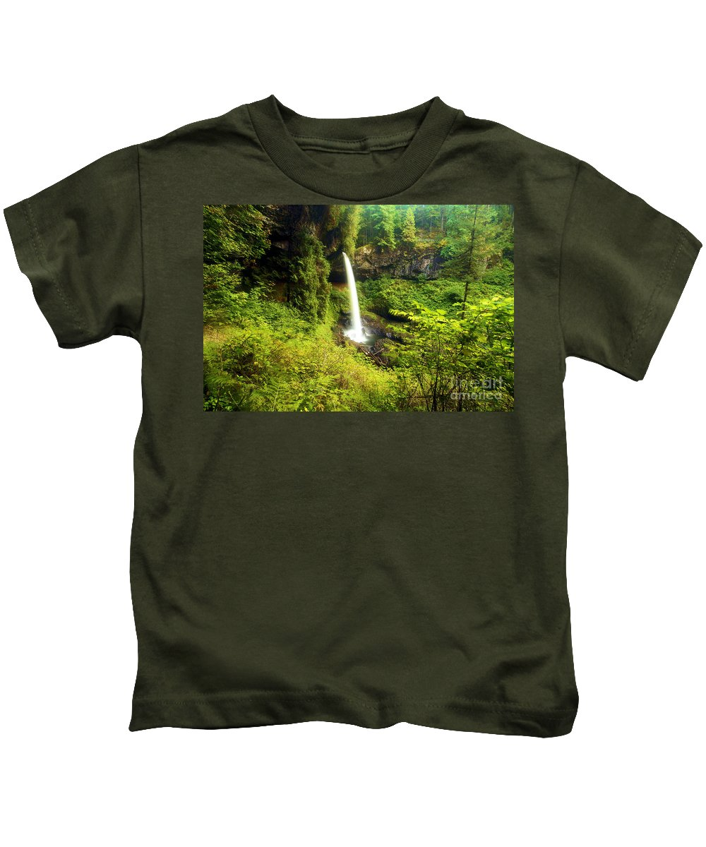 Silver Falls State Park Kids T-Shirt featuring the photograph North Falls by Adam Jewell