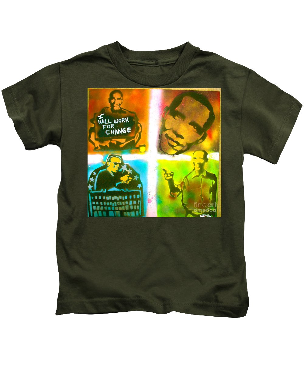 Barack Obama Kids T-Shirt featuring the painting Obama Squared by Tony B Conscious