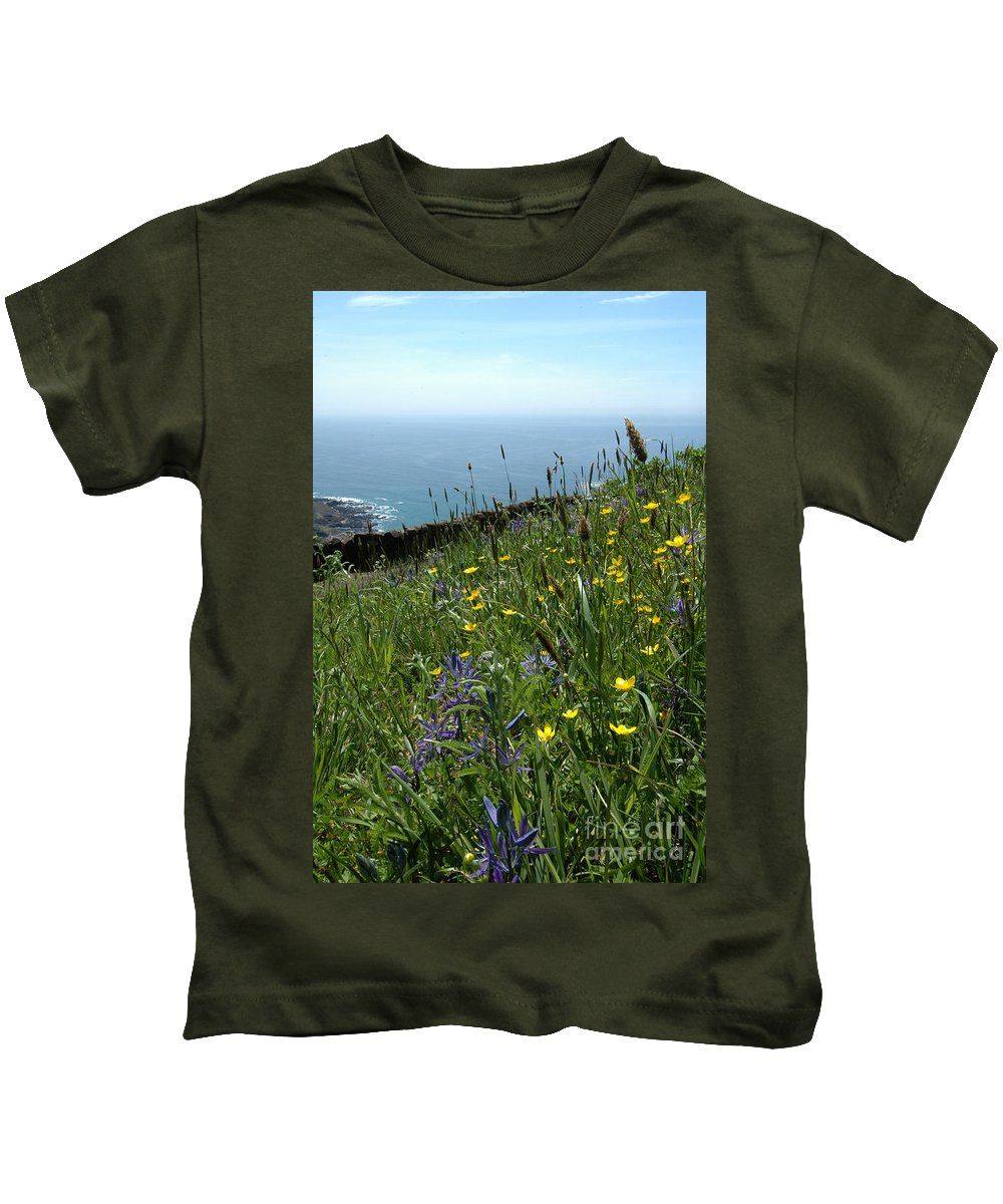 Ocean Kids T-Shirt featuring the photograph Ocean Wildflowers by Mike Nellums