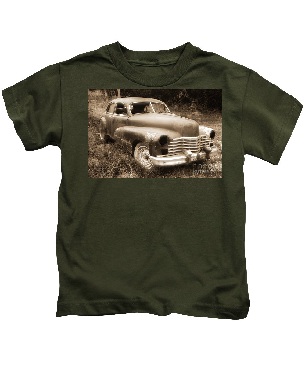 Cars Kids T-Shirt featuring the photograph Old Caddy-sepia by Randy Harris