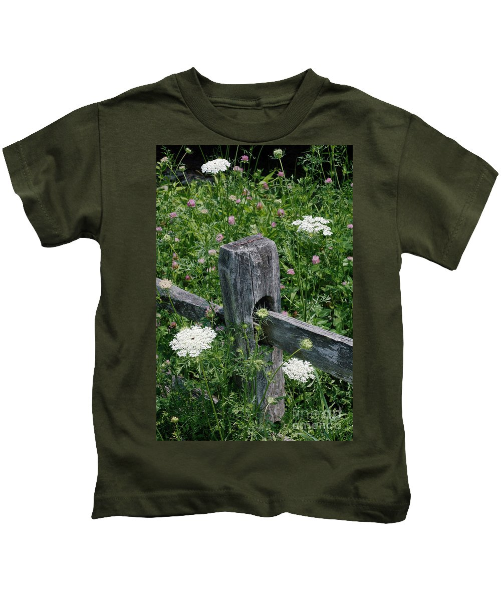 Old Kids T-Shirt featuring the photograph Old Fence And Wildflowers by Mike Nellums