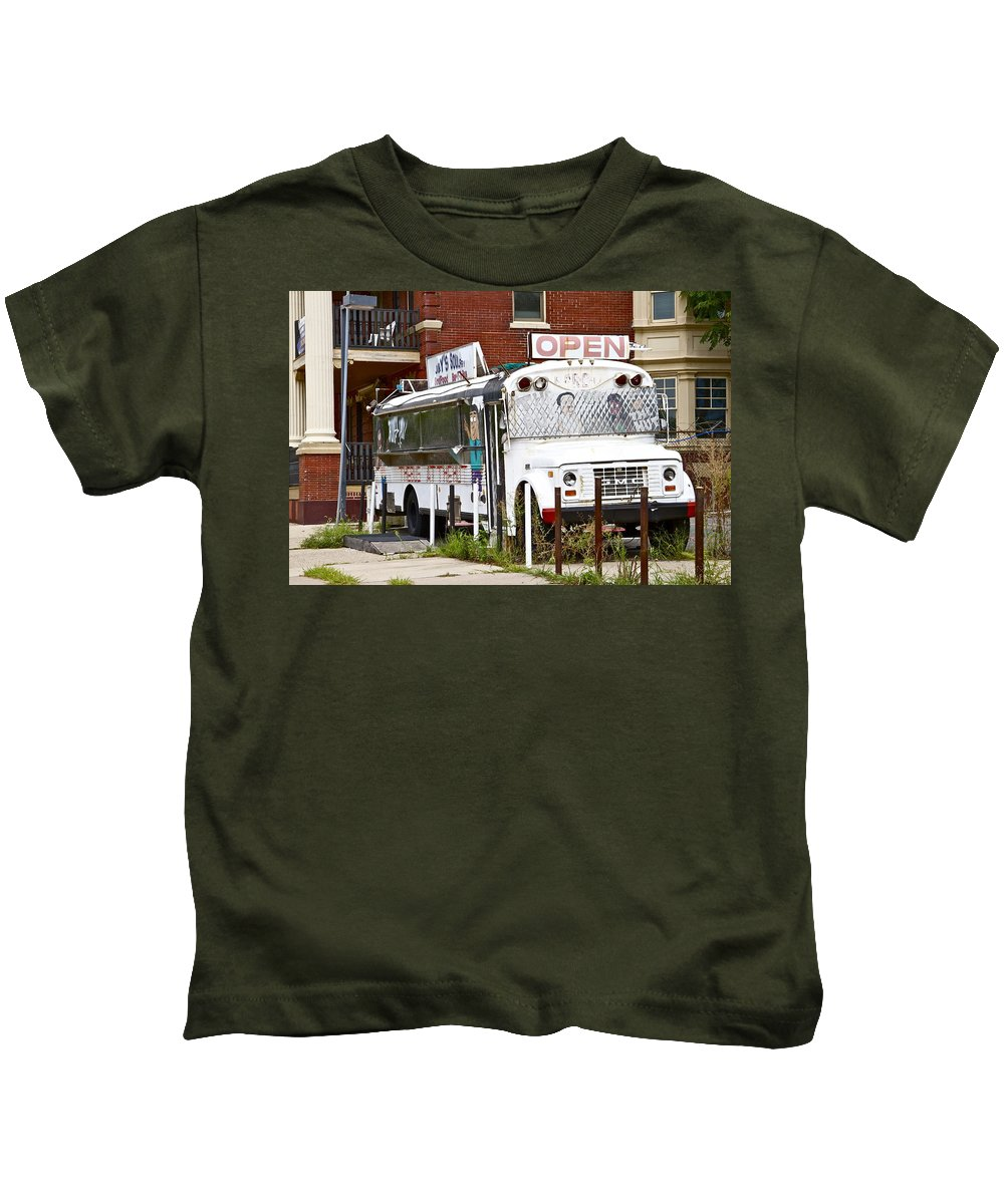 Scenic Philadelphia Trash Bus White Decrepit Kids T-Shirt featuring the photograph Open by Alice Gipson