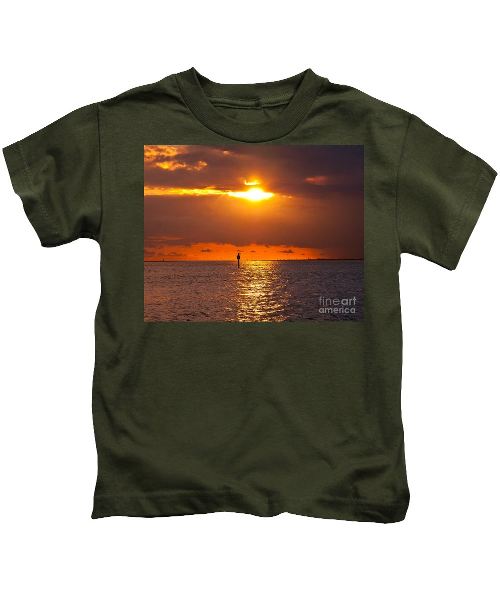 Sunset Kids T-Shirt featuring the photograph Orange Sky by Stephen Whalen