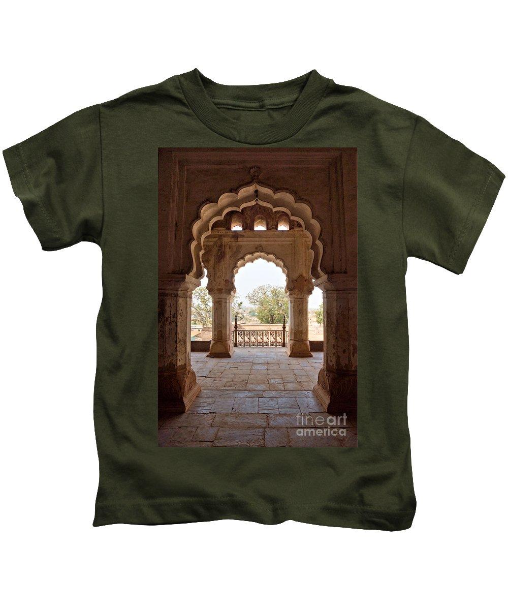 Khajuraho Kids T-Shirt featuring the photograph Orchha's Palace India by Luciano Mortula
