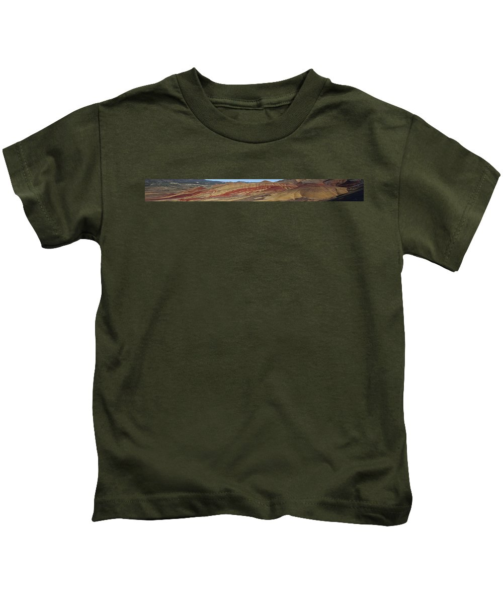 Sweeping Kids T-Shirt featuring the photograph Painted Hills Panoramic by Karen Ulvestad