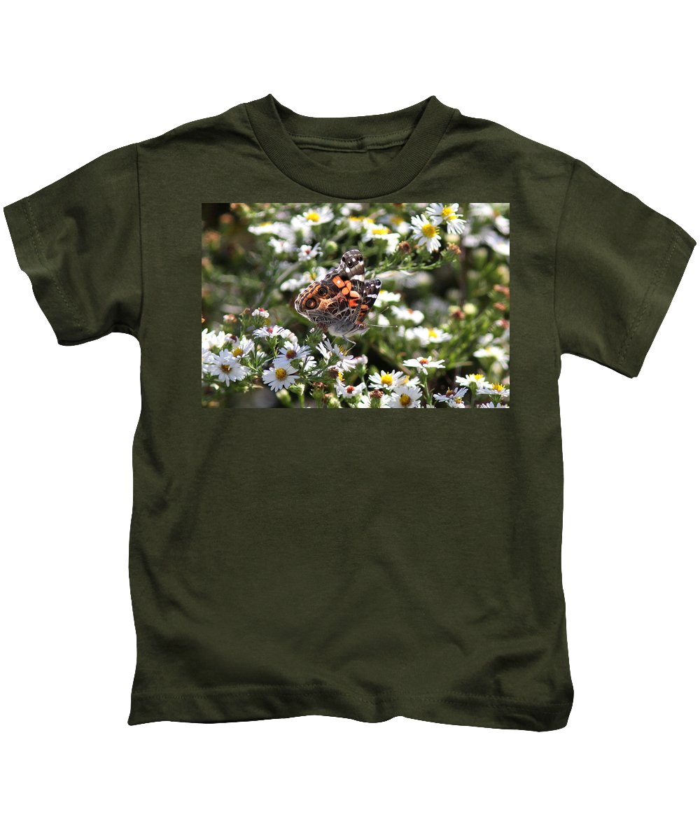 Painted Lady Butterfly Kids T-Shirt featuring the photograph Painted Lady - Surrounded In White by Travis Truelove