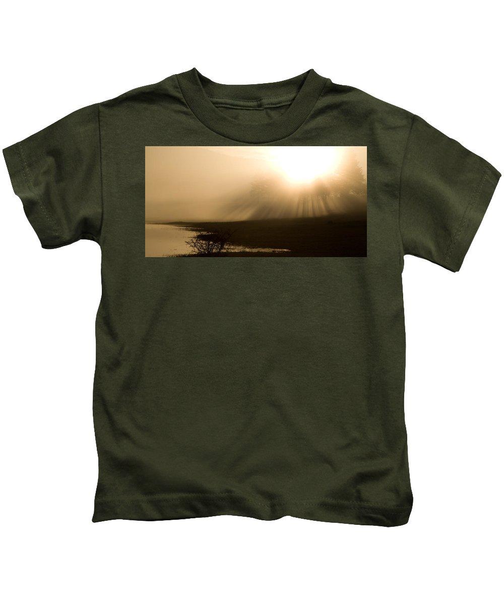 Seasonal Kids T-Shirt featuring the photograph Palsko Lake Sunburst by Ian Middleton