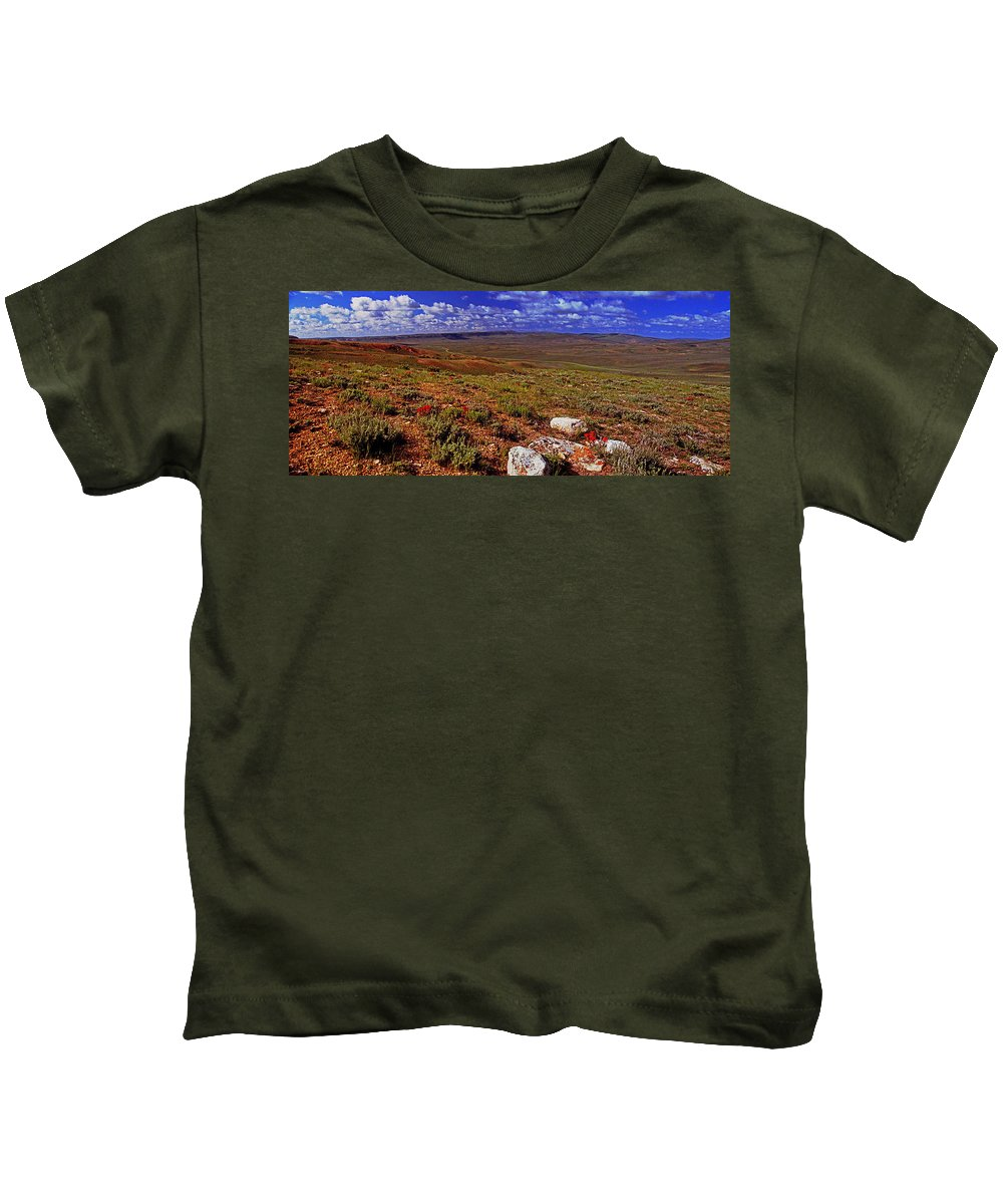 Wyoming Kids T-Shirt featuring the photograph Panoramic View Of Fossil Butte Nm Valley by Rich Walter