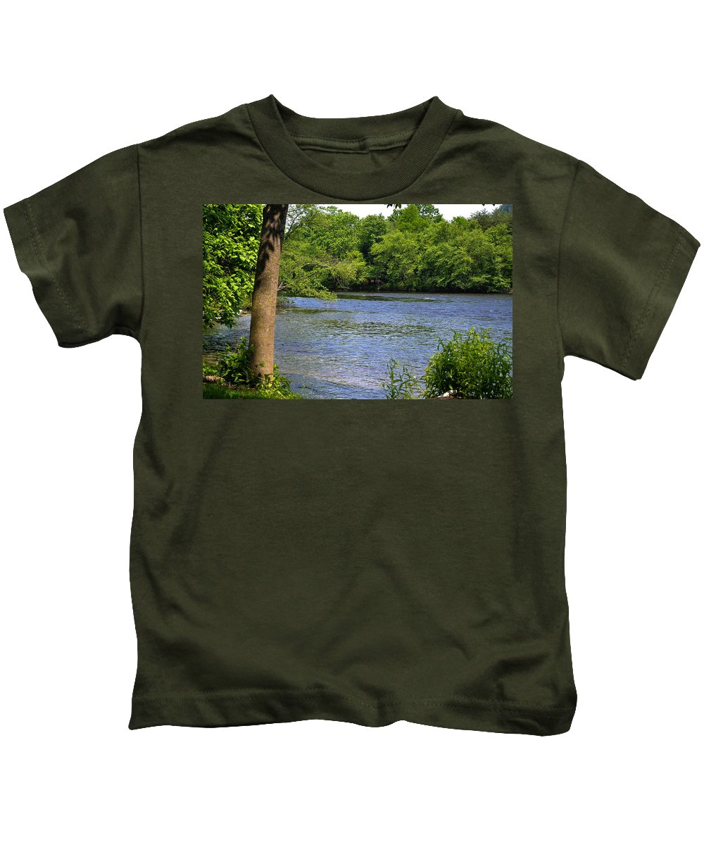 River Kids T-Shirt featuring the photograph Peaceful River by Wanda J King