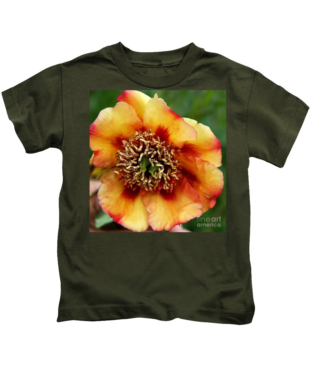 Peony Kids T-Shirt featuring the photograph Peachy Peony by Christiane Schulze Art And Photography