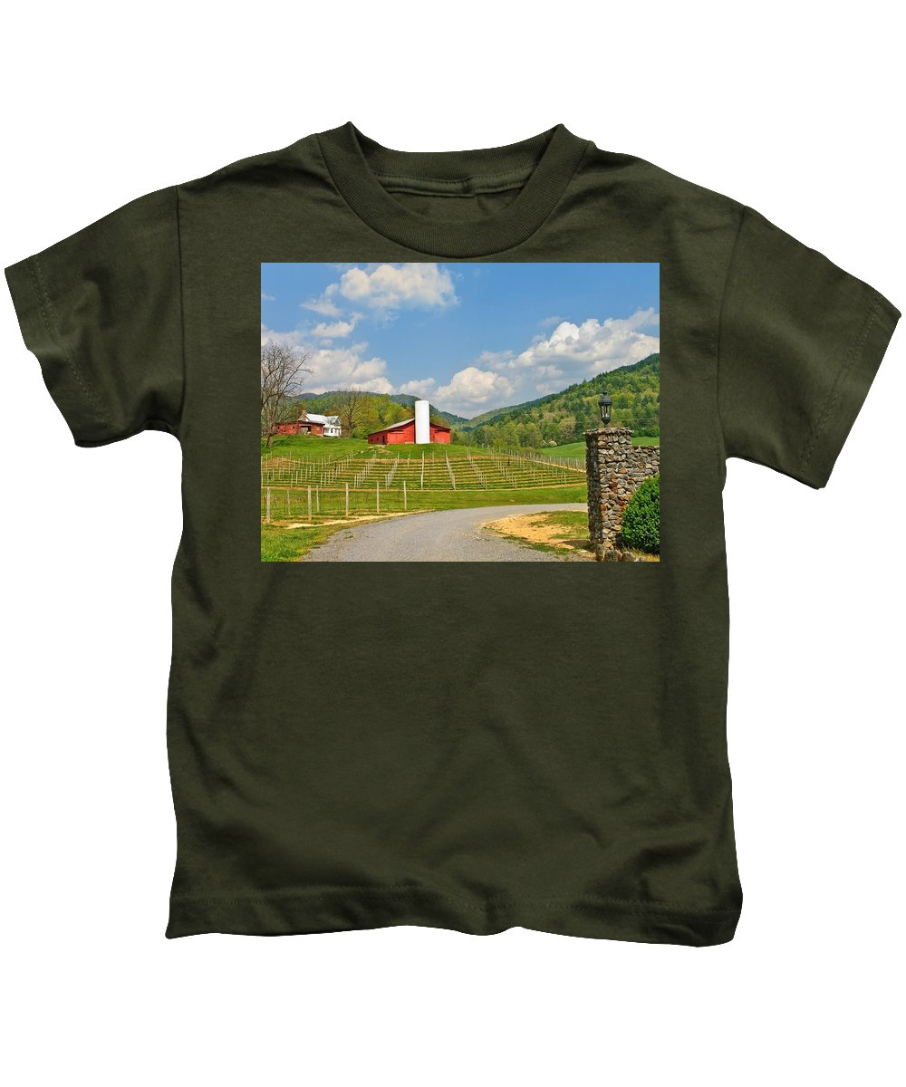 Spring Kids T-Shirt featuring the photograph Persimmon Winery by Susan Leggett