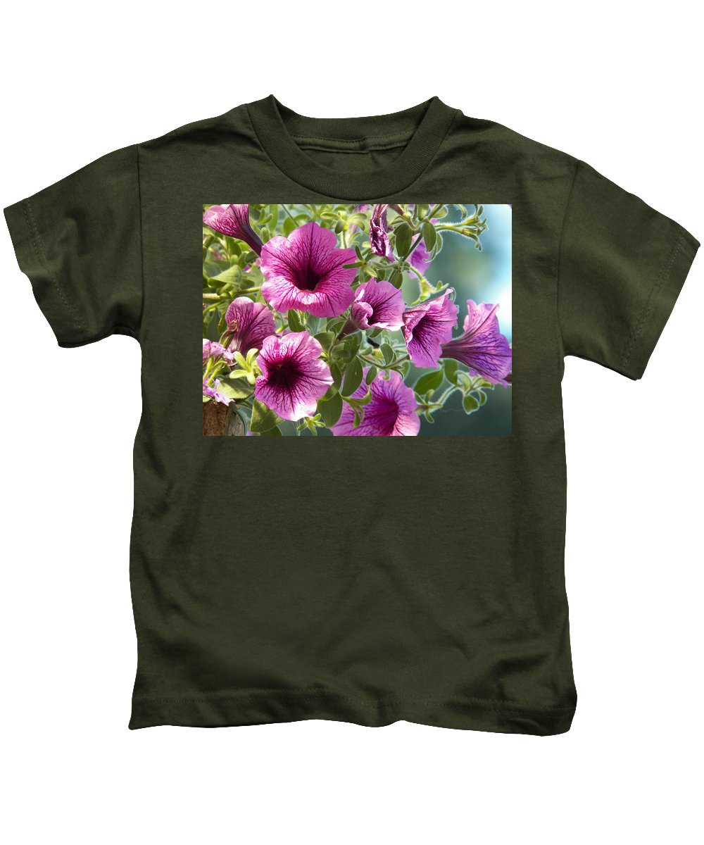 Digital Photograph Prints Kids T-Shirt featuring the photograph Petunias by Laurie Kidd