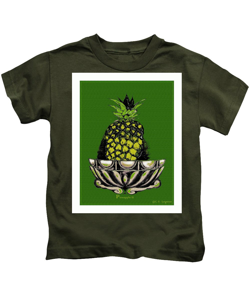 Pineapple Kids T-Shirt featuring the digital art Pineapple Study by C F Legette