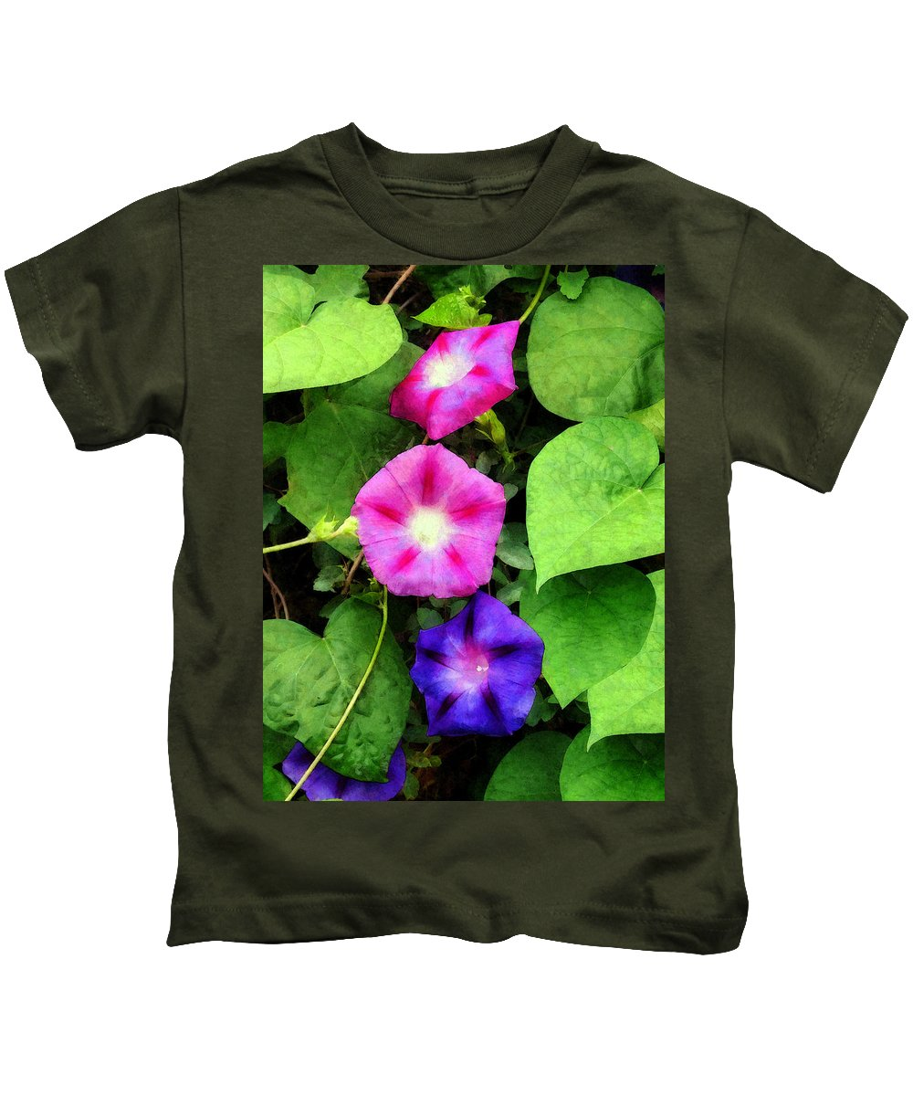 Morning Glory Kids T-Shirt featuring the photograph Pink And Purple Morning Glories by Susan Savad