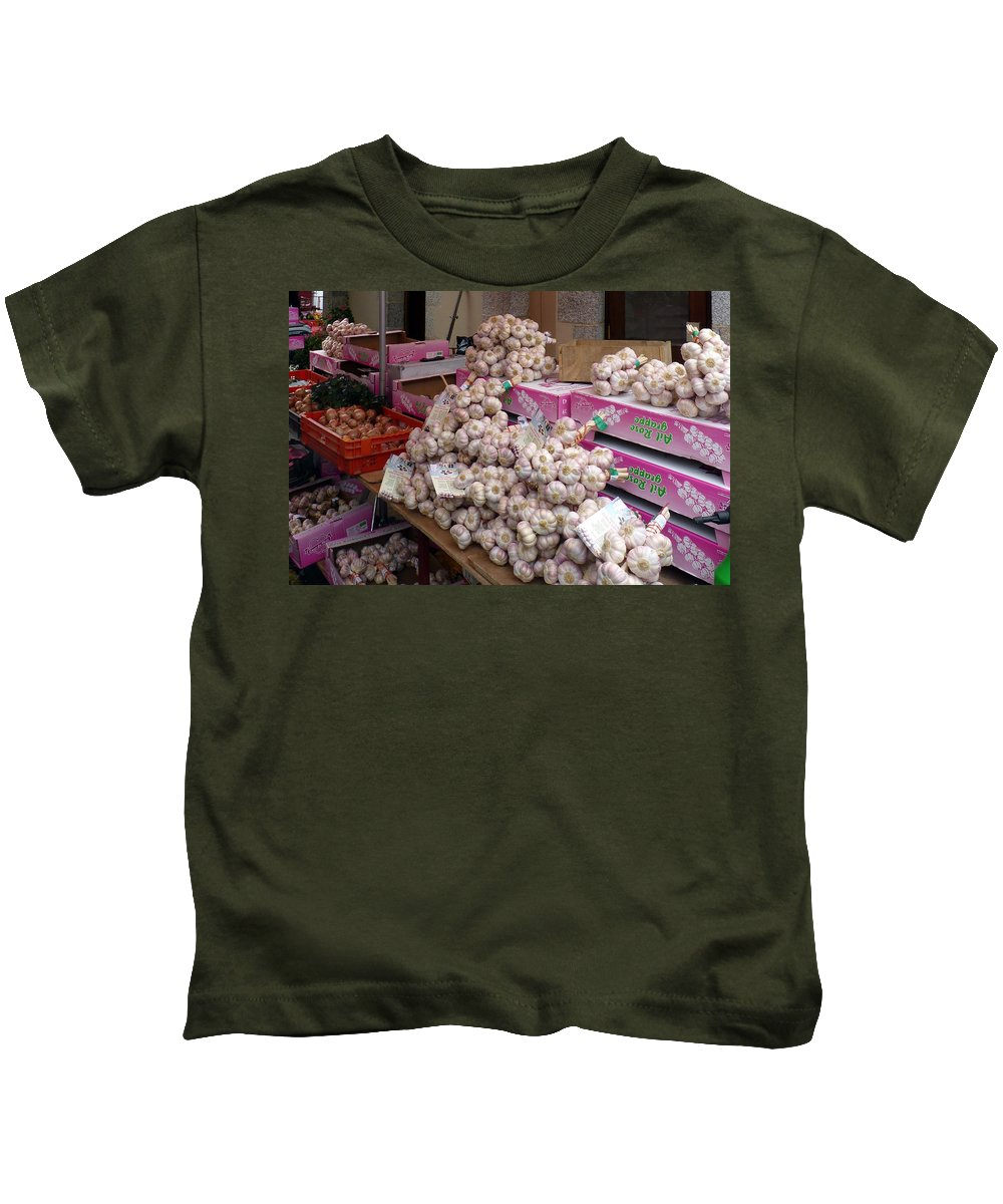 Pink Kids T-Shirt featuring the photograph Pink Garlic by Carla Parris