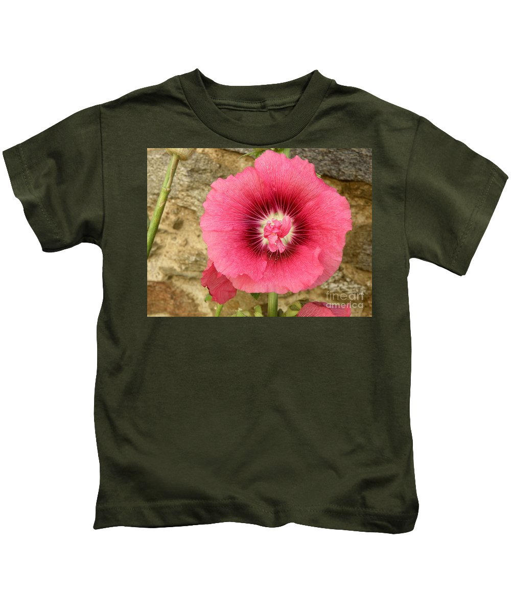 Pink Kids T-Shirt featuring the photograph Pink Hollyhock 1 by Lainie Wrightson