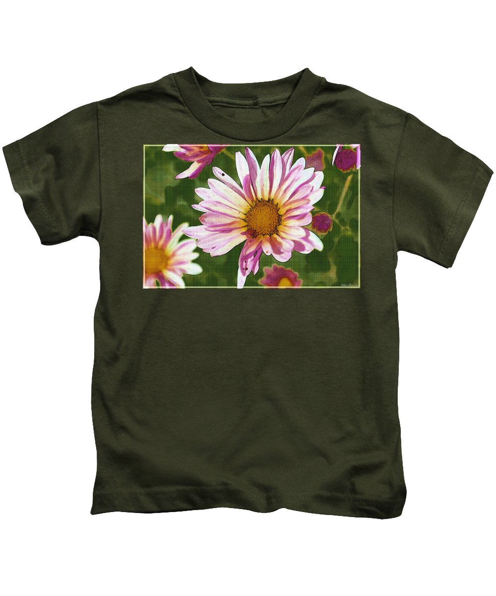 Nature Kids T-Shirt featuring the digital art Pink Mum Photoart by Debbie Portwood