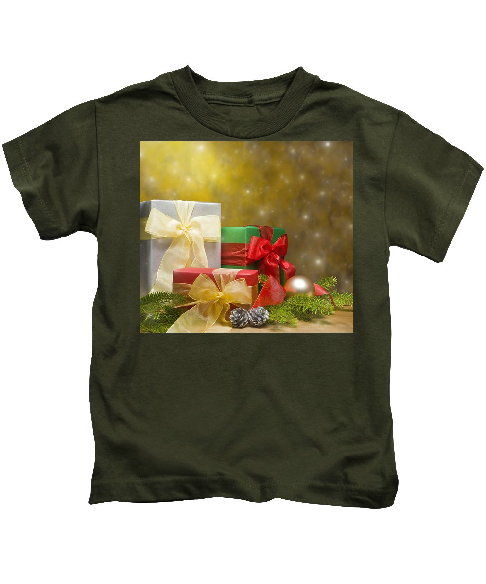 Ball Kids T-Shirt featuring the photograph Presents Decorated With Christmas Decoration by U Schade