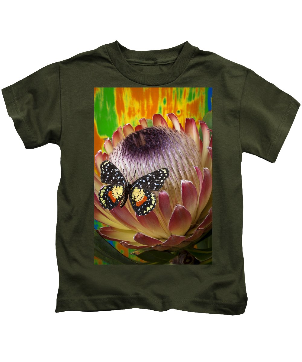 Protea Kids T-Shirt featuring the photograph Protea With Speckled Butterfly by Garry Gay