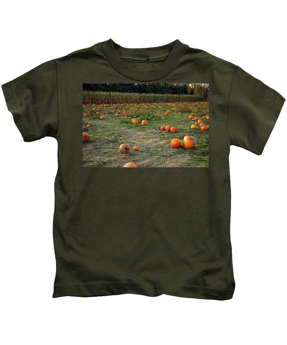 Food And Beverage Kids T-Shirt featuring the photograph Pumpkin Patch by LeeAnn McLaneGoetz McLaneGoetzStudioLLCcom