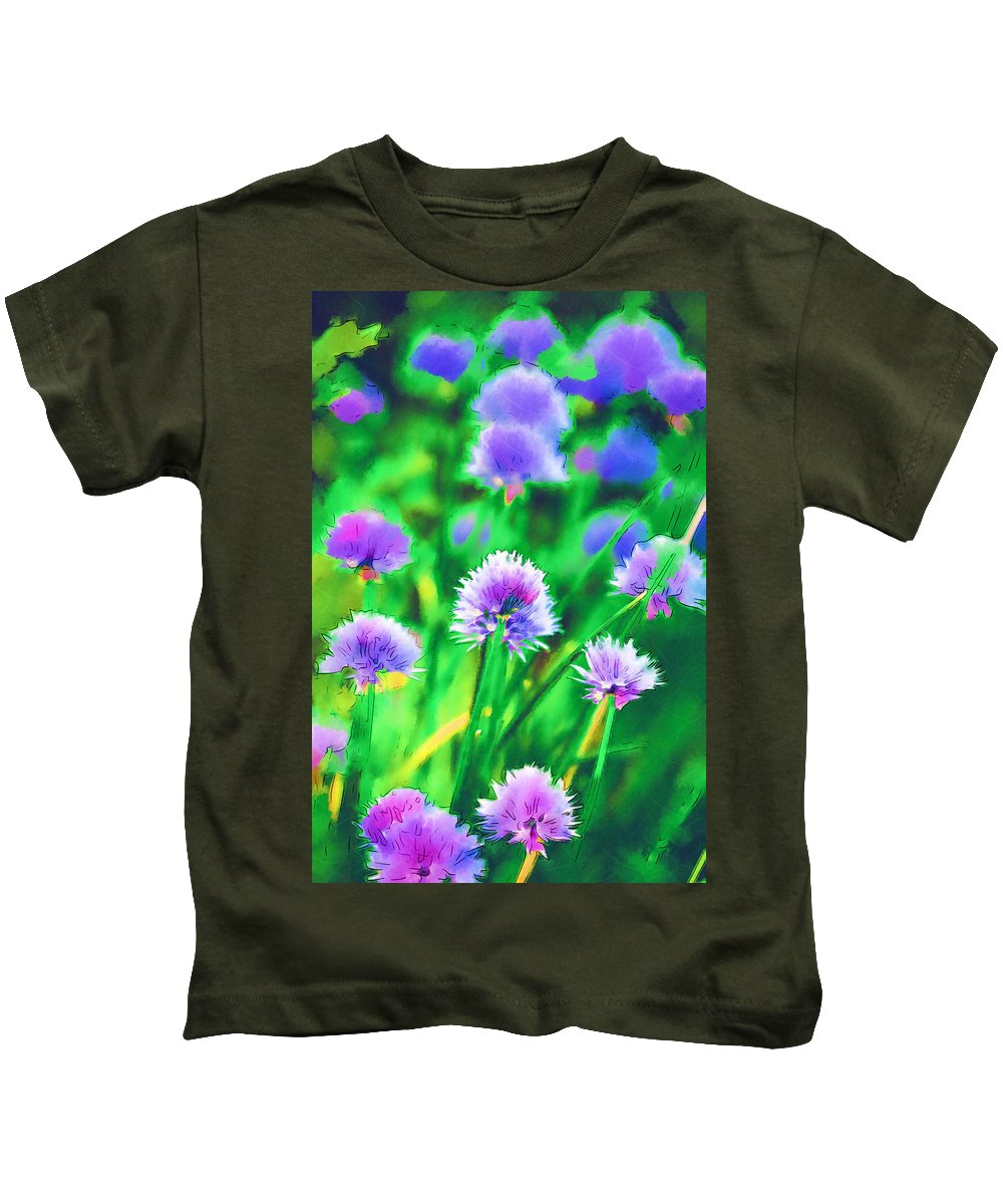Chives Kids T-Shirt featuring the photograph Purple And Green Chive Watercolor by Kathy Clark