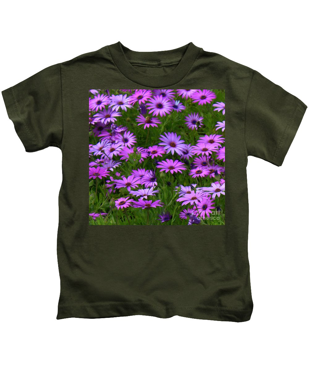 Purple Daisies Kids T-Shirt featuring the photograph Purple Daisies Square by Carol Groenen