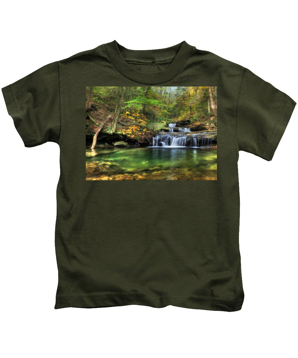 Quinn Run Kids T-Shirt featuring the photograph Quinn Run Cascades by Lori Deiter