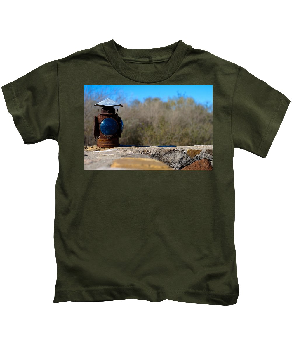 Old Lantern Kids T-Shirt featuring the photograph Railroad Signal by Sean Wray