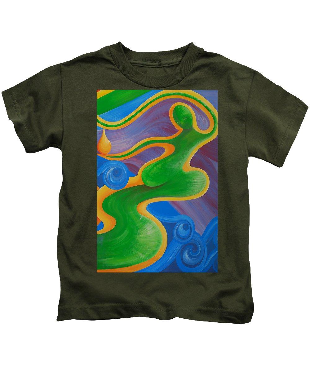 Rainbow Healing Painting.rainbow Healing Kids T-Shirt featuring the painting Rainbow Healing For Family by Catt Kyriacou