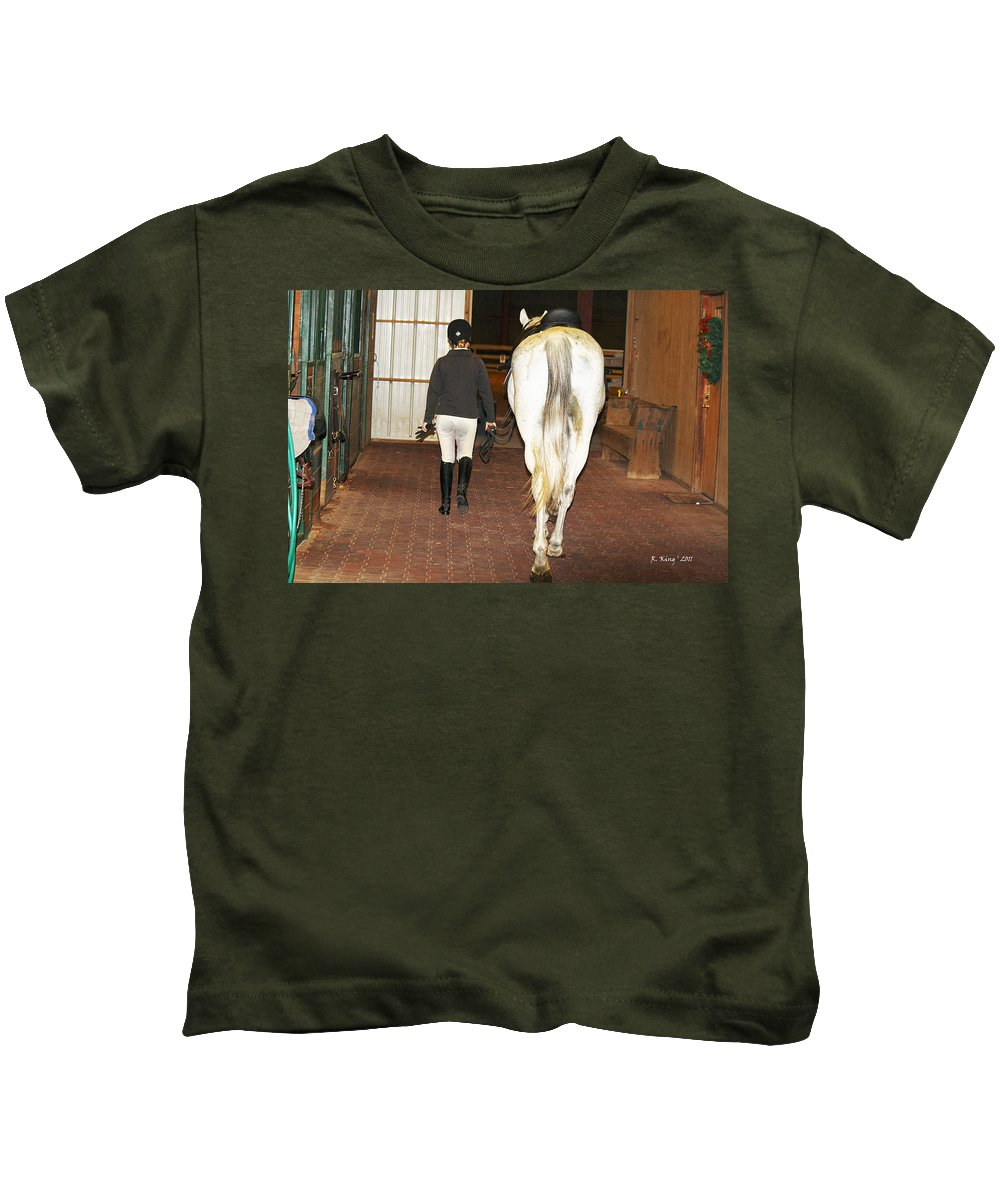 Roena King Kids T-Shirt featuring the photograph Ready For The Dressage Lesson by Roena King