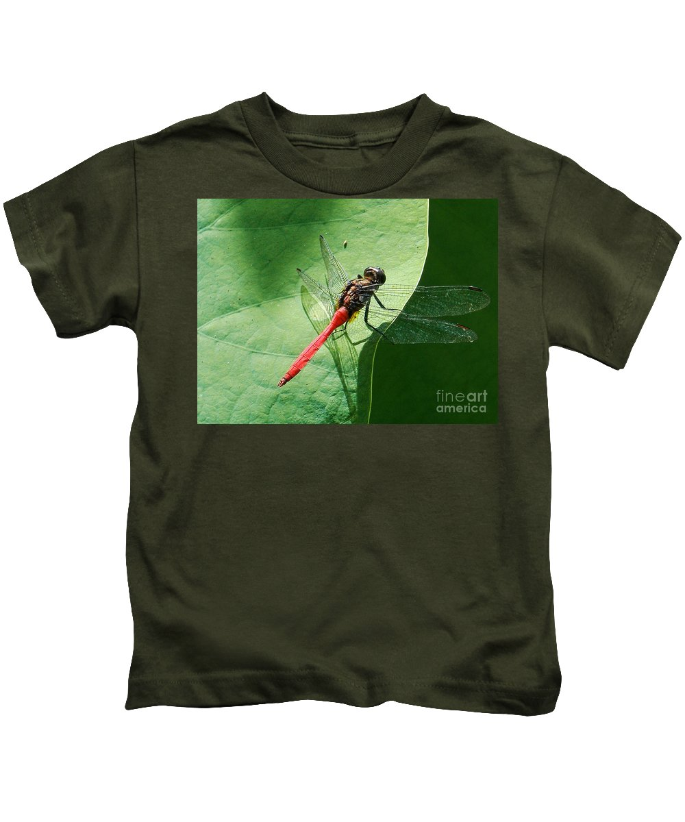 Photography Kids T-Shirt featuring the photograph Red Dragonfly     by Kaye Menner