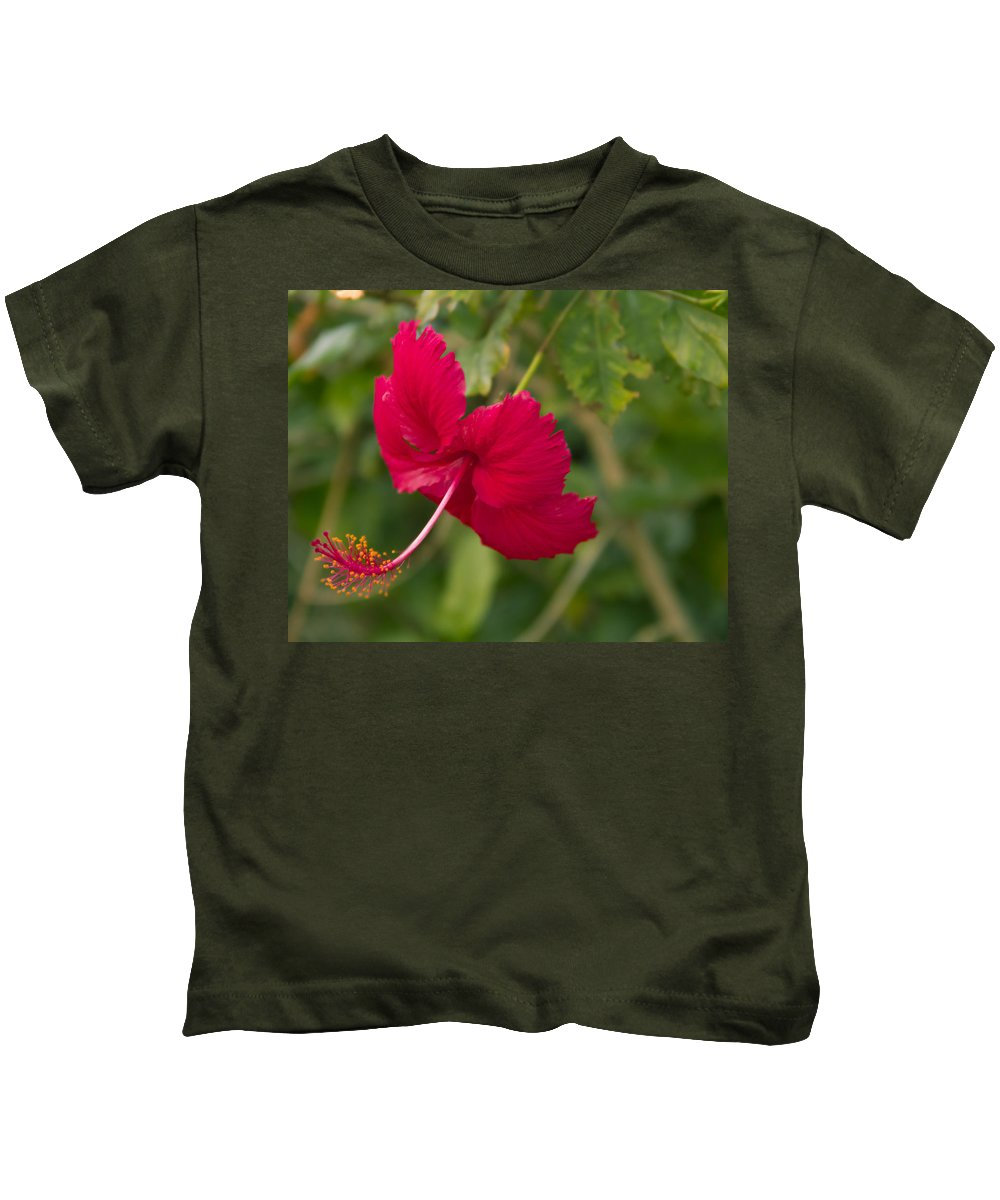 Hibiscus Kids T-Shirt featuring the photograph Red Hibiscus by Roger Wedegis