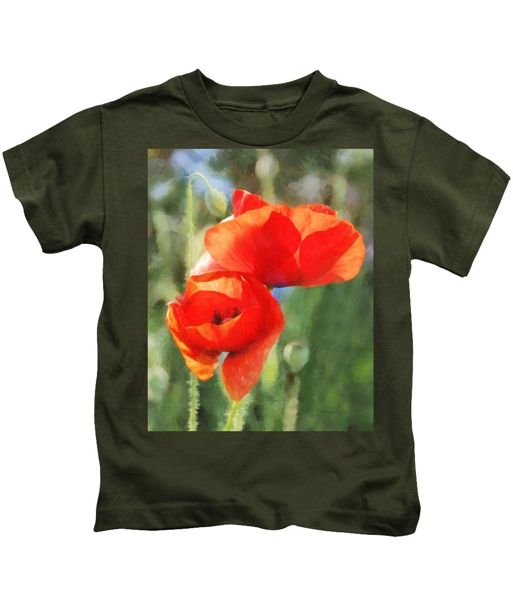 Poppies Kids T-Shirt featuring the digital art Red Poppies In Sunlight by Francesa Miller