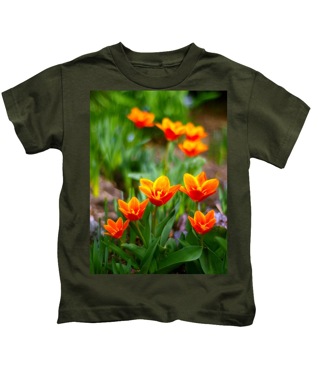 Tulip Kids T-Shirt featuring the photograph Red Tulips by Paul Ge