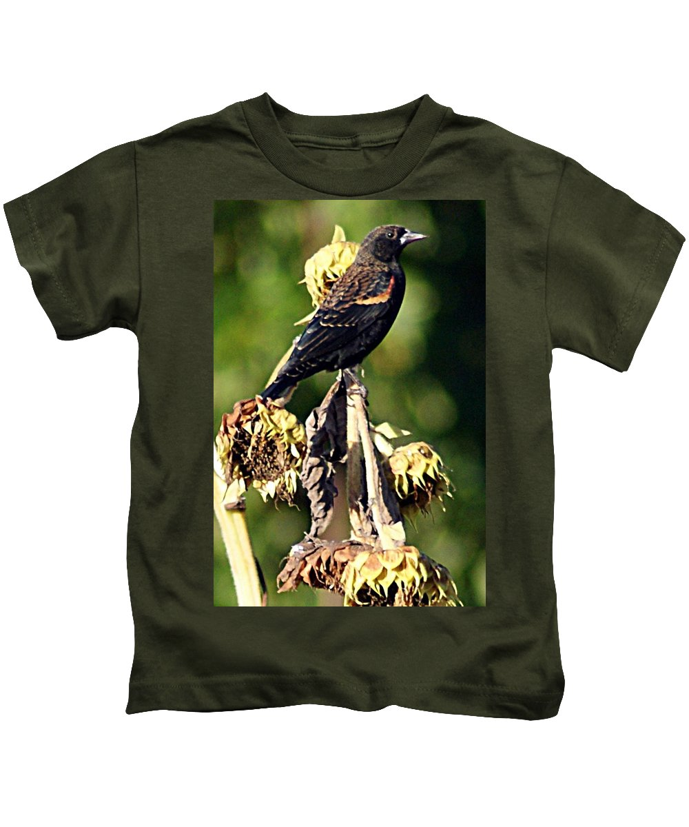 Redwinged Kids T-Shirt featuring the photograph Redwinged Blackbird II by Joe Faherty