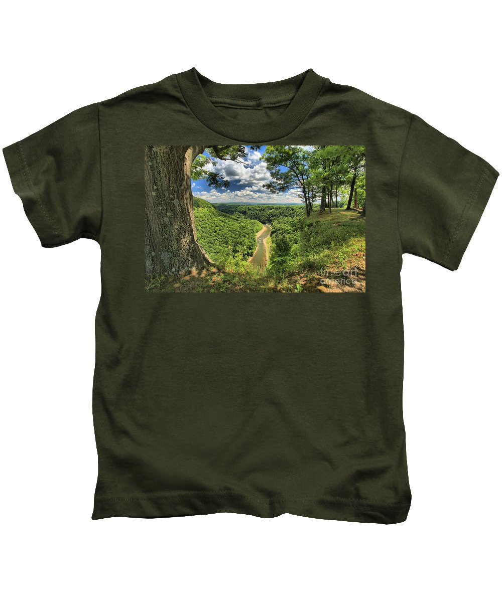 Letchworth State Park Kids T-Shirt featuring the photograph River In The Valley by Adam Jewell