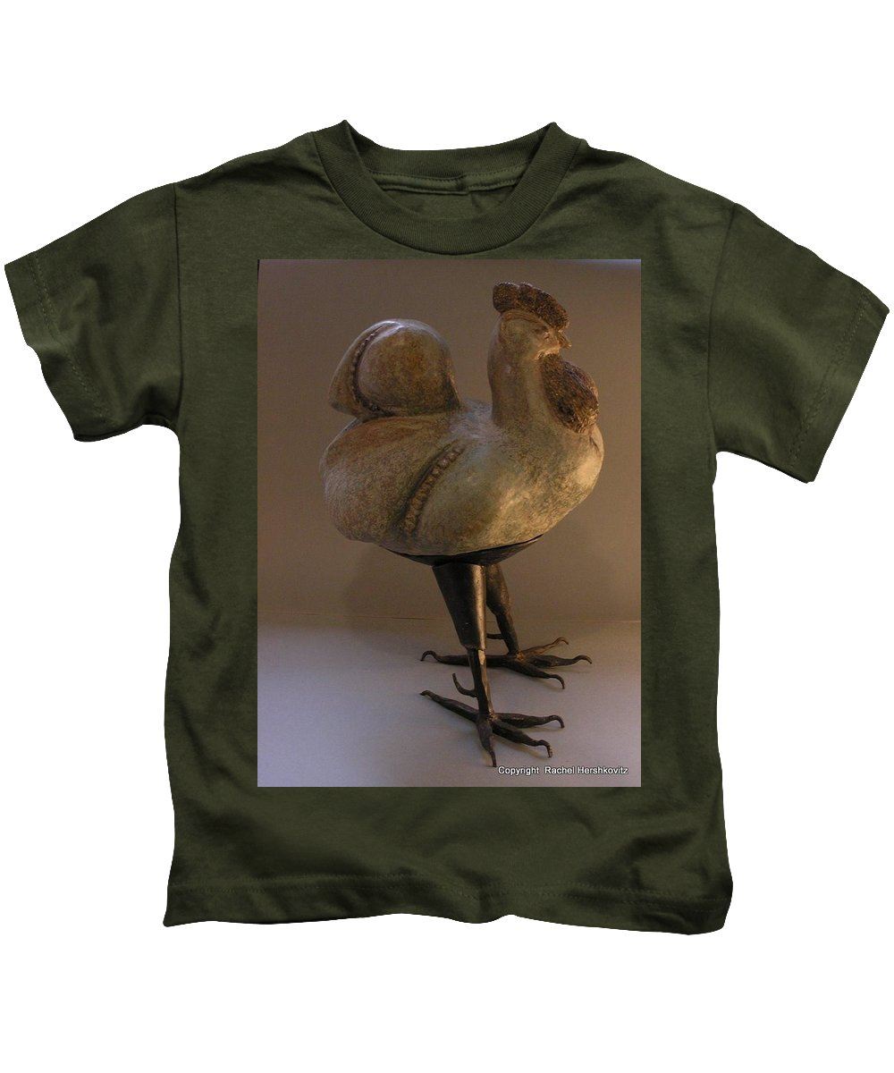 Rooster Kids T-Shirt featuring the sculpture Rooster 2 Bronze Legs And Ceramics Body Sculpture by Rachel Hershkovitz