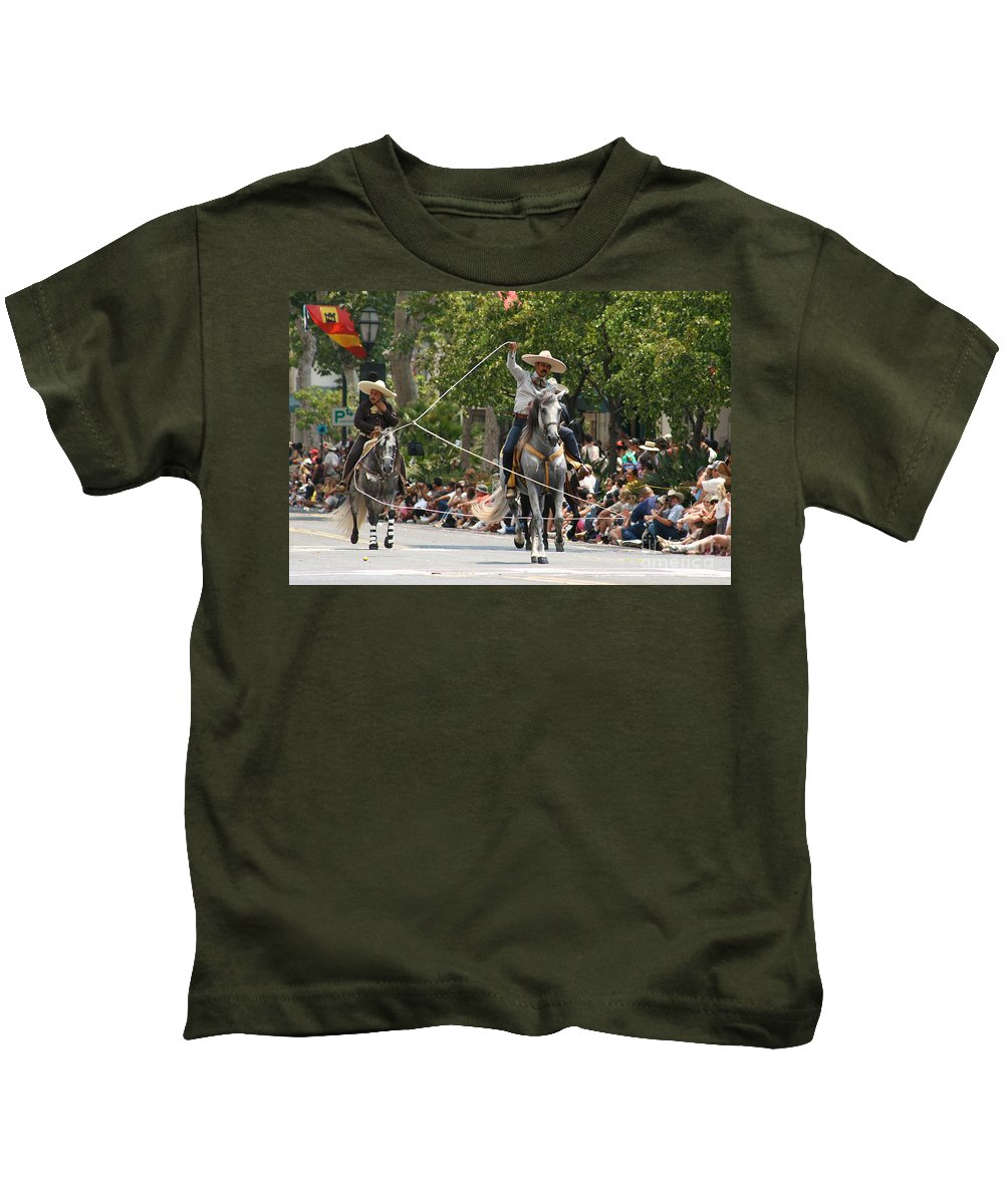 Spanish Roping Photo Kids T-Shirt featuring the photograph Roping Vaquero by Brooke Roby