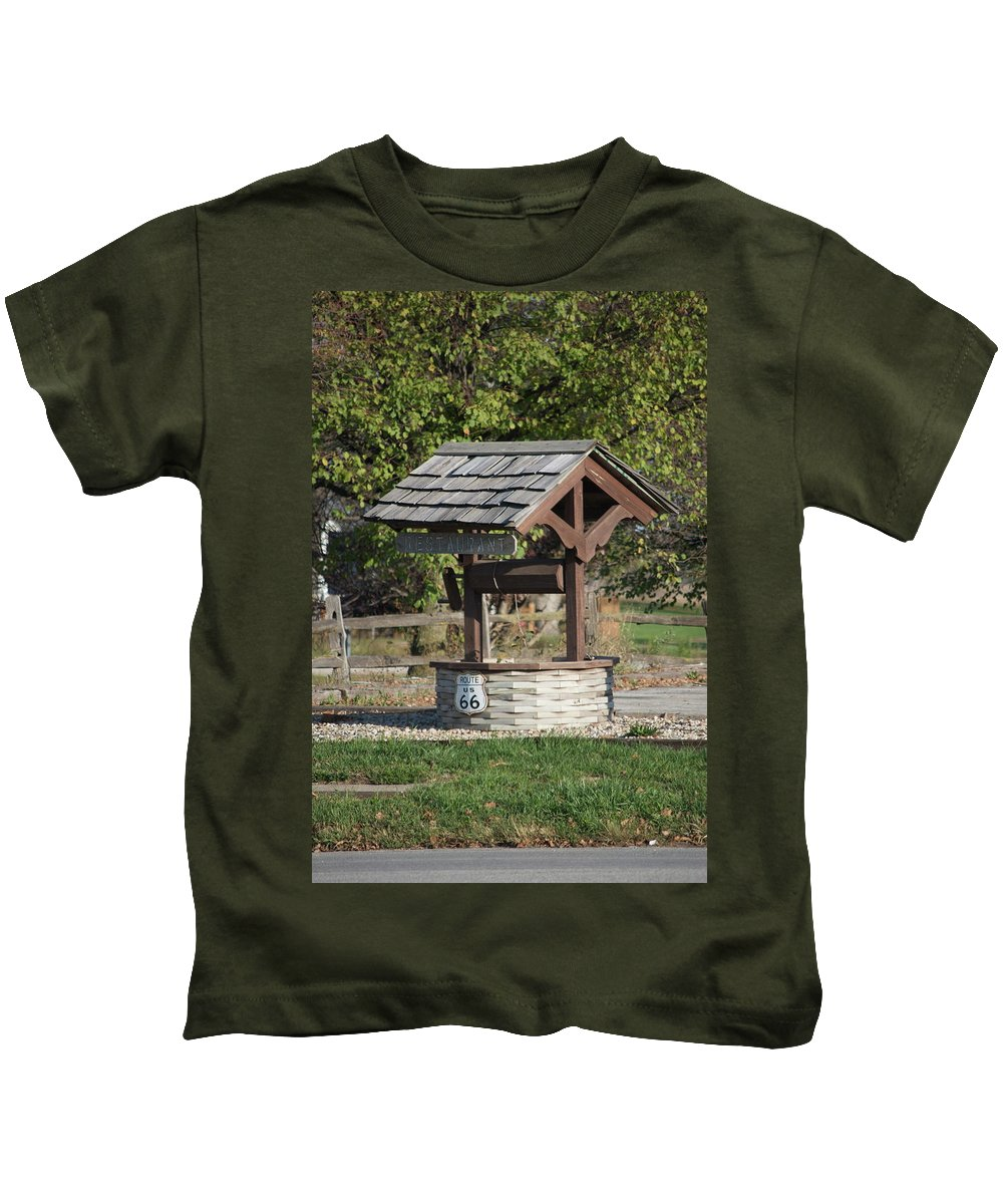 Mother Road Kids T-Shirt featuring the photograph Rt 66 Wishing Well by Thomas Woolworth