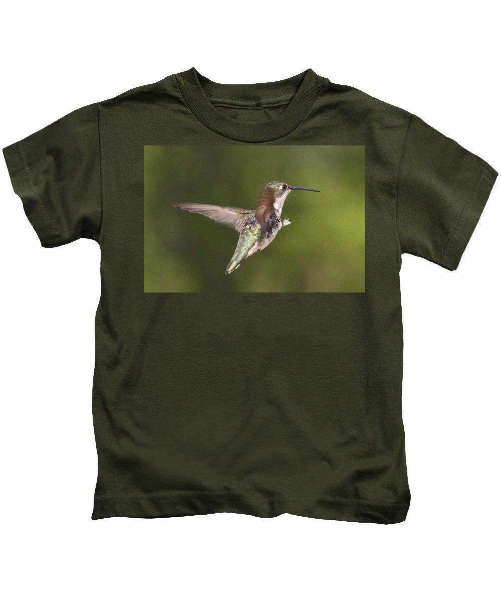 Hummingbird Kids T-Shirt featuring the photograph Ruby-throated Hummingbird - Twirling by Travis Truelove