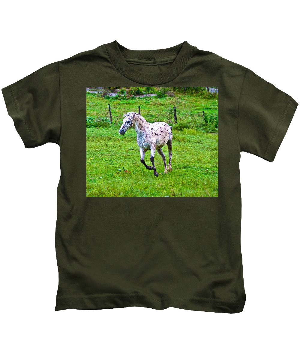 Horse Kids T-Shirt featuring the photograph Running It Off by Betsy Knapp